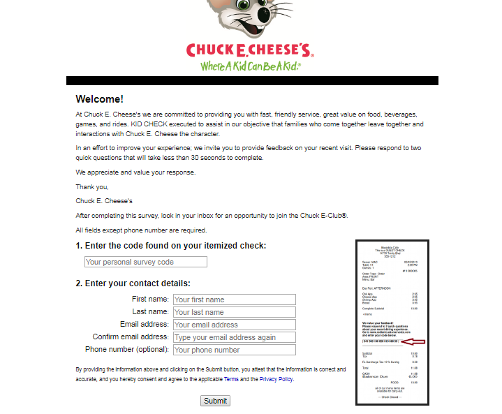 Chuck E. Cheese's feedback Customer Survey