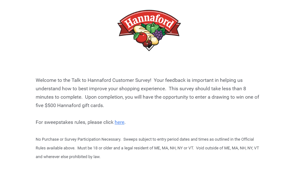Talk to Hannaford Survey