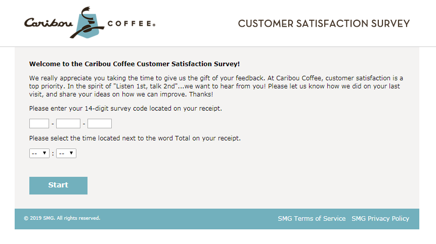 Caribou Coffee gust Satisfaction Survey and Guest Feedback