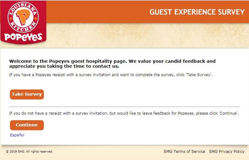 Popeyes Guest Experience Survey