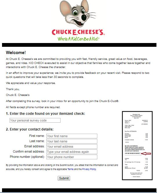 Chuck E. Cheese's Survey