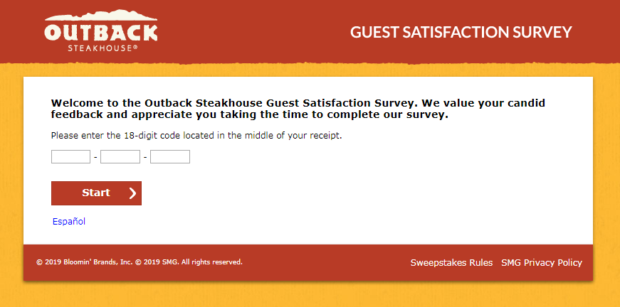 Tell Outback Steakhouse Feedback in Customer Survey
