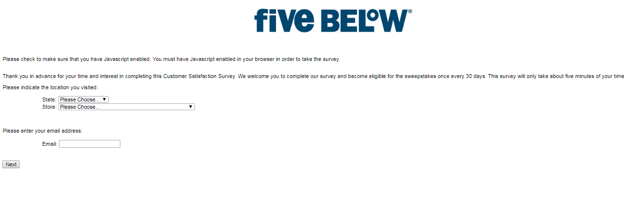 Five Below customer survey