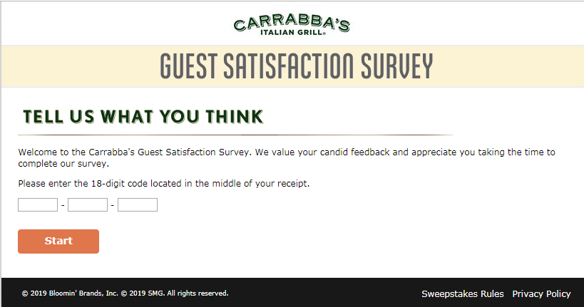 Tell Carrabba's Feedback Survey